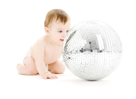 large ball: adorable baby boy with big disco ball over white LANG_EVOIMAGES