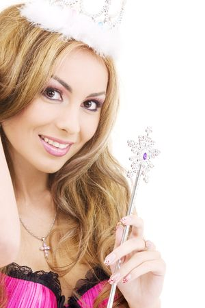picture of lovely fairy in crown with magic wand Stock Photo - 3701630