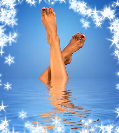 picture of female legs in blue water Stock Photo - 3701632