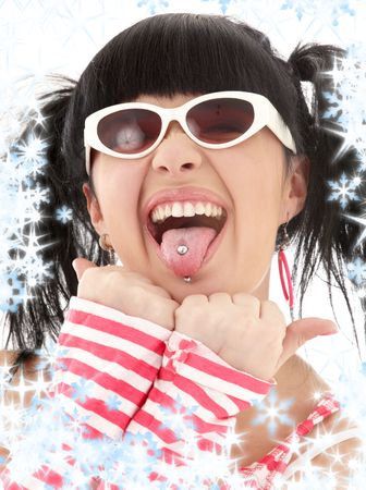pierced: pink striped asian girl portrait with snowflakes