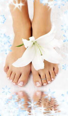beautiful lady feet with madonna lily in spa Stock Photo - 3701639