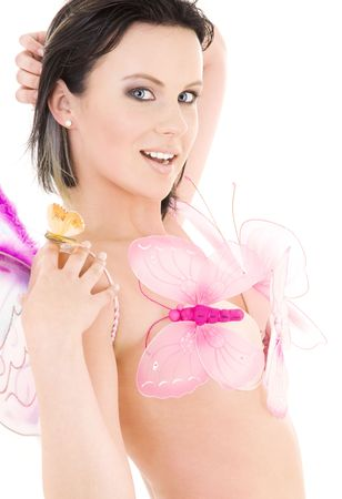 lovely naked girl with butterflies over white Stock Photo - 3701676