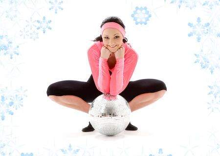frontlet: picture of dancer girl with glitterball and snowflakes