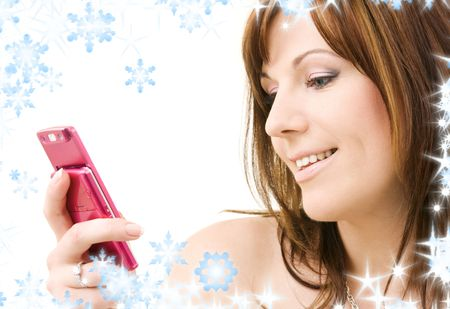 portrait of happy woman with pink phone Stock Photo - 3796800