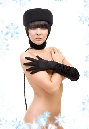 picture of naked woman in black hat and glove Stock Photo - 3796840