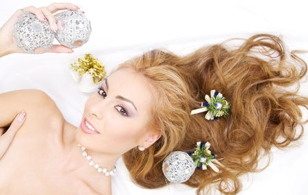carnal: picture of lovely woman with christmas balls