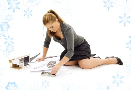 architect tools: picture of lovely architect girl at work