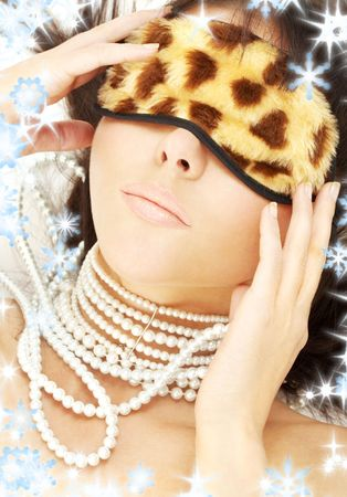 lovely brunette with pearls in leopard mask Stock Photo - 3804313