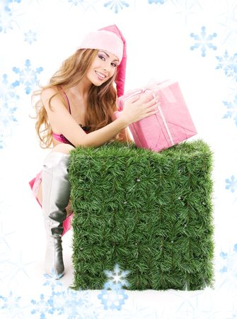sexy santa helper with gift box and green cube Stock Photo - 3811285
