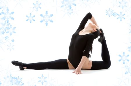 fitness instructor in black leotard with snowflakes Stock Photo - 3830079