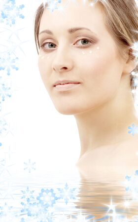 beautiful woman with moisturizing milk drops on face in water Stock Photo - 3830096