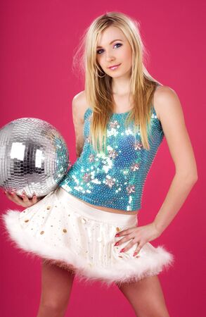 party dancer with disco ball over pink Stock Photo - 3830105