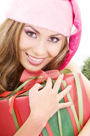 picture of happy santa helper with gift box Stock Photo - 3860457