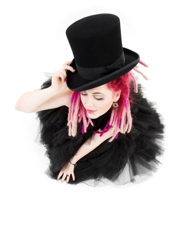 picture of bizarre pink hair girl with top hat Stock Photo - 3886711