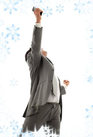 happy businessman with cellular phone and snowflakes Stock Photo