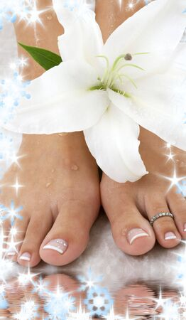 beautiful female feet with madonna lily in spa Stock Photo - 3898378