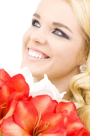 happy woman with red and white lily flowers Stock Photo - 3906316