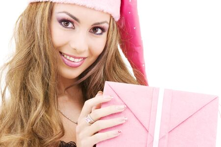 picture of happy santa helper with gift box Stock Photo - 3927281
