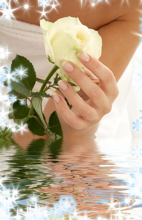 aqua flowers: beautiful woman hand with rosebud in water