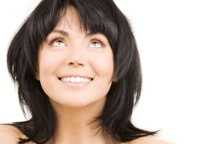 picture of happy woman looking up over white Stock Photo - 3963209