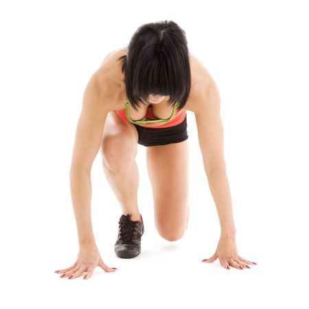 picture of runner woman ready to start Stock Photo - 3963221