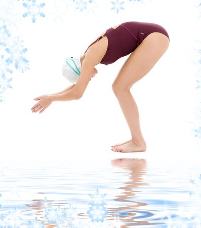 bright picture of swimmer woman with snowflakes Stock Photo - 3967770