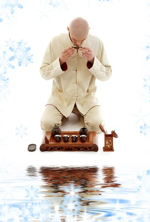 bright picture of tea ceremony master at work photo