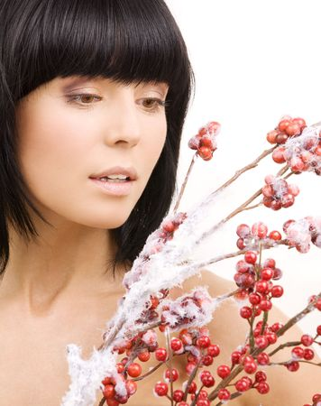 portrait of lovely woman with red ashberry Stock Photo - 3967792