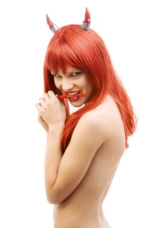 red devil girl with hot chili pepper Stock Photo - 4006851