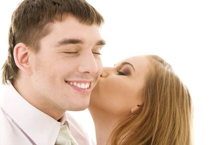 picture of couple in love over white Stock Photo - 4006853