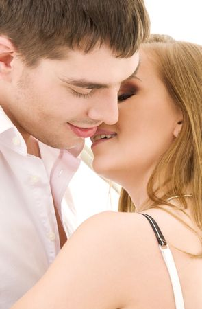 picture of couple in love over white Stock Photo - 4006854