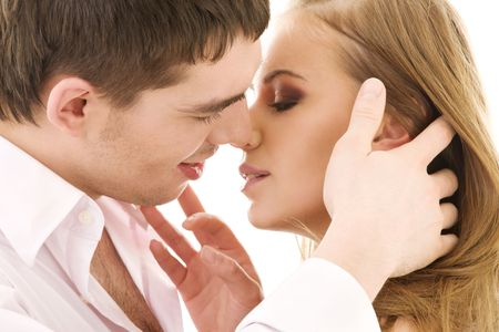 picture of couple in love over white Stock Photo - 4006857