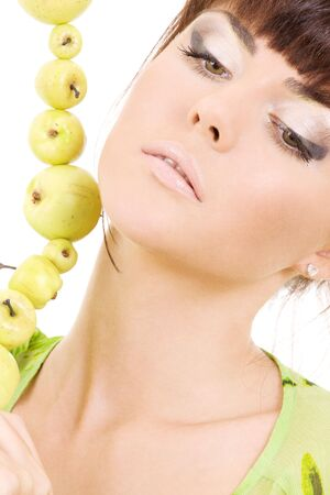 picture of beautiful woman with green apples Stock Photo - 4006855