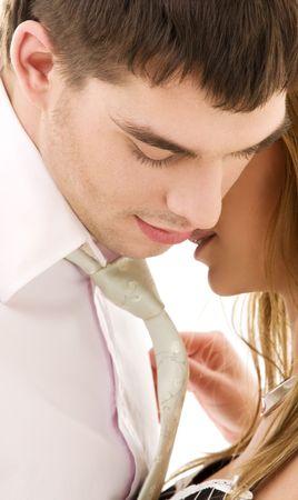 secret love: picture of couple in love over white