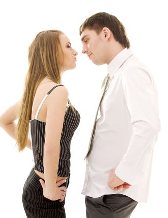 bright picture of conflicting couple over white Stock Photo - 4033009