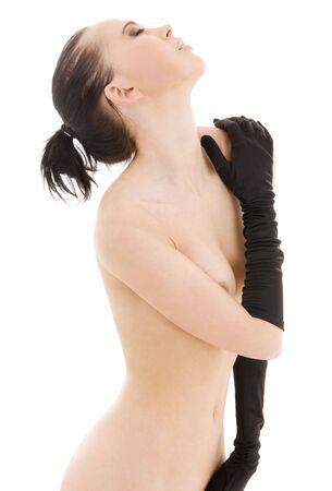 lovely naked woman in black gloves over white Stock Photo - 4056003