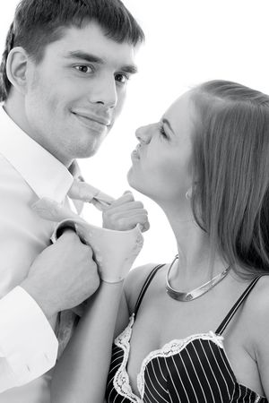 monochrome picture of conflicting couple over white Stock Photo - 4082215