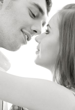 monochrome picture of couple in love over white Stock Photo - 4104430