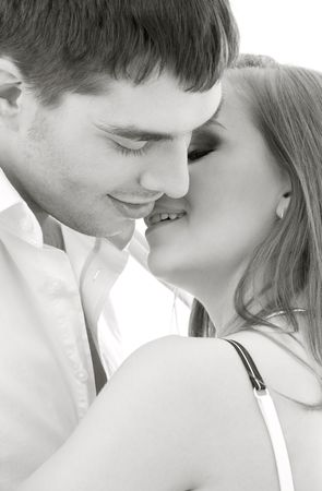 monochrome picture of couple in love over white Stock Photo - 4104433