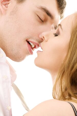 picture of couple in love over white Stock Photo - 4111564