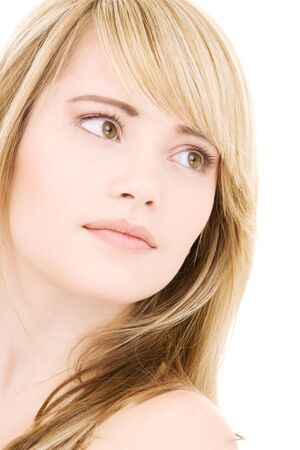 bright picture of lovely blonde over white Stock Photo - 4118785