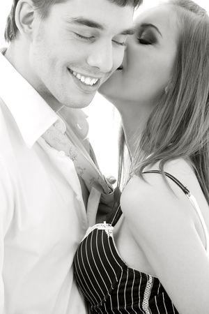 monochrome picture of couple in love over white