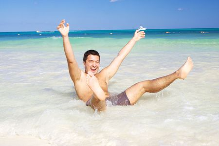 picture of happy man on the beach Stock Photo - 4235578
