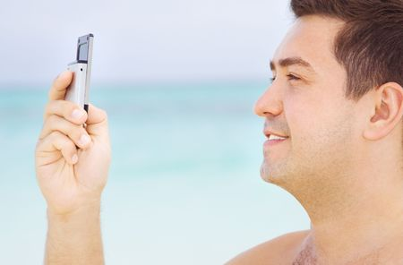 picture of happy man with cell phone Stock Photo - 4248330