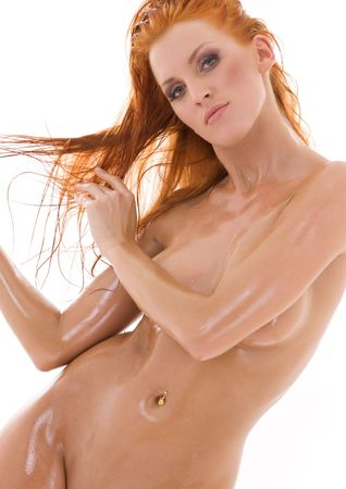 picture of healthy naked redhead over white Stock Photo - 4282568