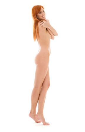bright picture of healthy naked redhead over white Stock Photo - 4282582