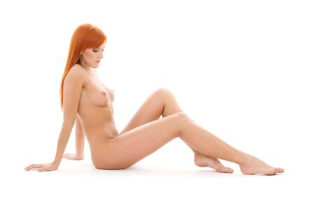bright picture of healthy naked redhead over white Stock Photo - 4282583