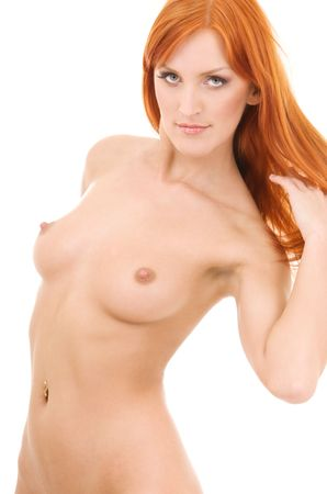 picture of healthy naked redhead over white Stock Photo - 4282584