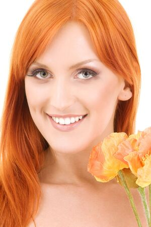 picture of redhead woman with flowers over white Stock Photo - 4303468