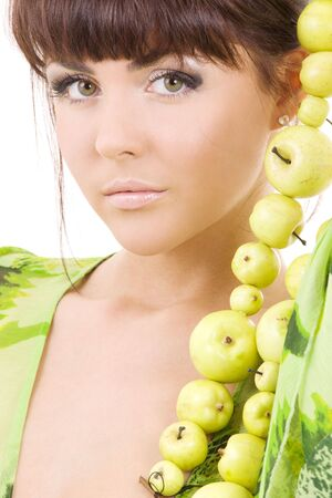 picture of beautiful woman with green apples Stock Photo - 4325067